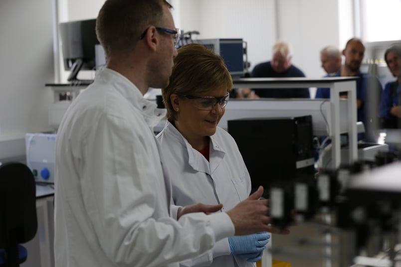 Nicola Sturgeon at REPROCELL (Biopta) laboratories in Glasgow